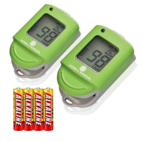 【本品2個+単4アルカリ電池4本セット】コニカミノルタ パルスオキシメータ キウイグリーン PULSOX-Lite(KONICA MINOLTA)(PULSOXLite)