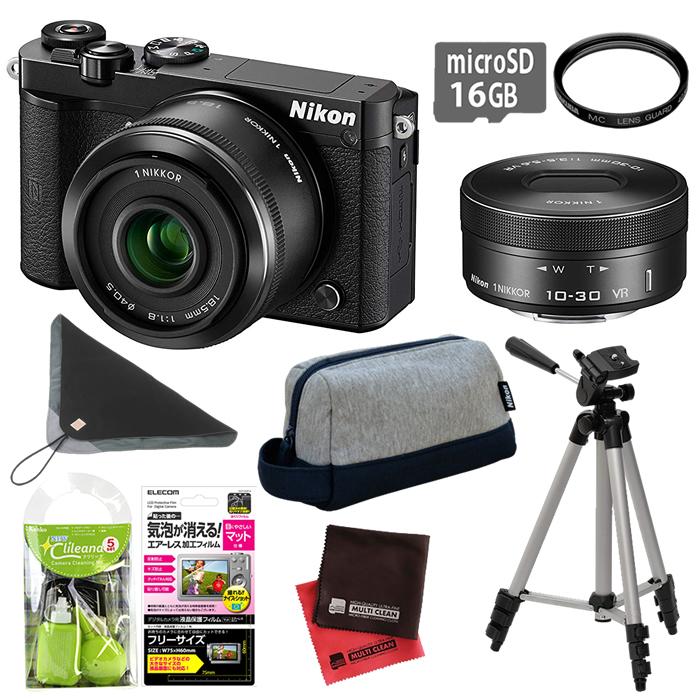 (もりもり9点セット)ニコン ミラーレスカメラ Nikon1 J5 ダブルレンズキット N1J5WLKBK (Nikon 1 J5 Wレンズキット)
