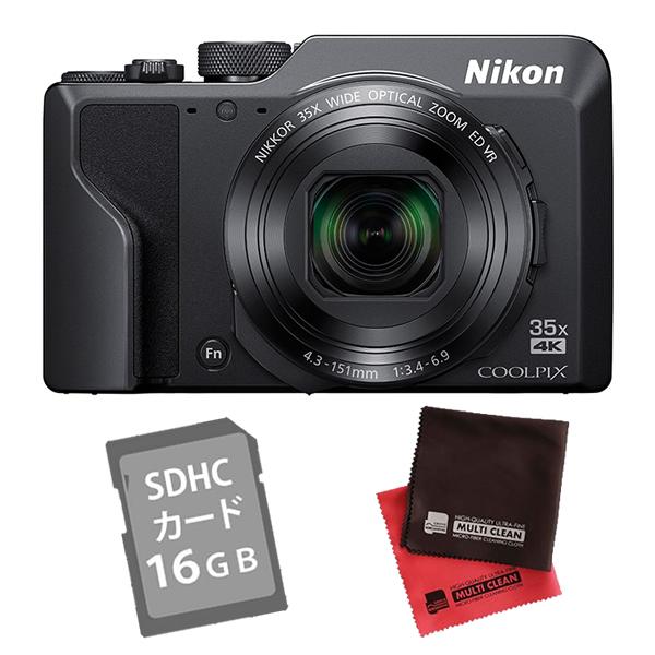 (SD16GB&クロス付き)ニコン コンパクトデジタルカメラ COOLPIX A1000 ブラック (デジカメ/コンデジ)(Nikon)