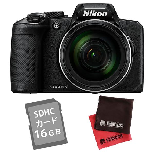 (SD16GB&クロス付き)ニコン コンパクトデジタルカメラ COOLPIX B600 ブラック (デジカメ/コンデジ)(Nikon)