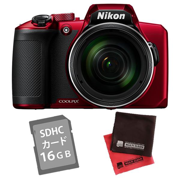 (SD16GB&クロス付き)ニコン コンパクトデジタルカメラ COOLPIX B600 レッド (デジカメ/コンデジ)(Nikon)