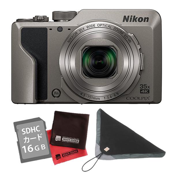(SD16GB&クロス&カメララップ付き)ニコン コンパクトデジタルカメラ COOLPIX A1000 シルバー (デジカメ/コンデジ)(Nikon)