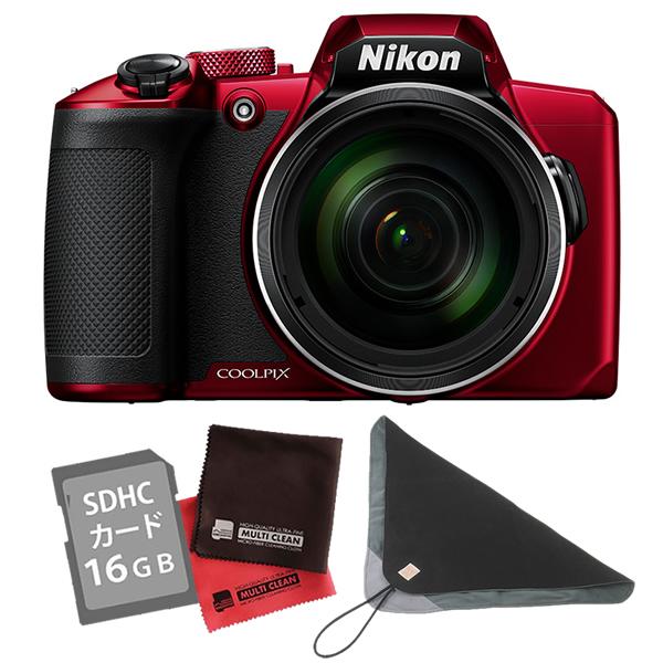 (SD16GB&クロス&カメララップ付き)ニコン コンパクトデジタルカメラ COOLPIX B600 レッド (デジカメ/コンデジ)(Nikon)