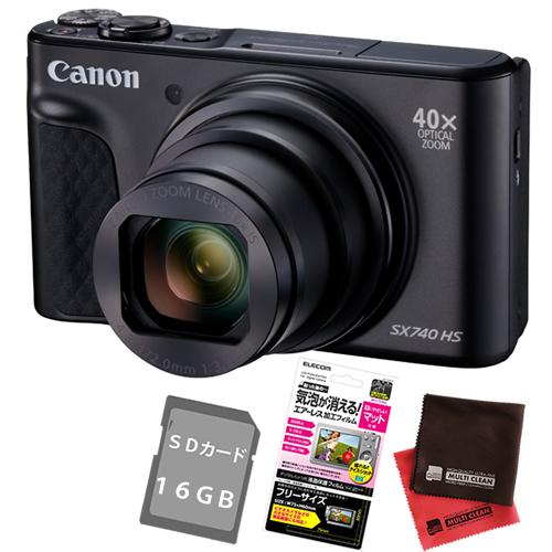 (SD・フィルム・クロス付)キヤノン PowerShot SX740 HS ブラック PSSX740HS(BK)(キャノン/Canon)