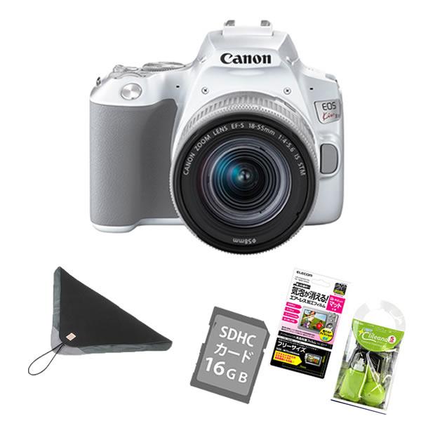 (6点セット)キヤノン デジタル一眼レフカメラ EOS Kiss X10 ホワイト レンズキット EOS KISS X10WH-1855IS STM LK (3456C001)(キャノン/Canon)