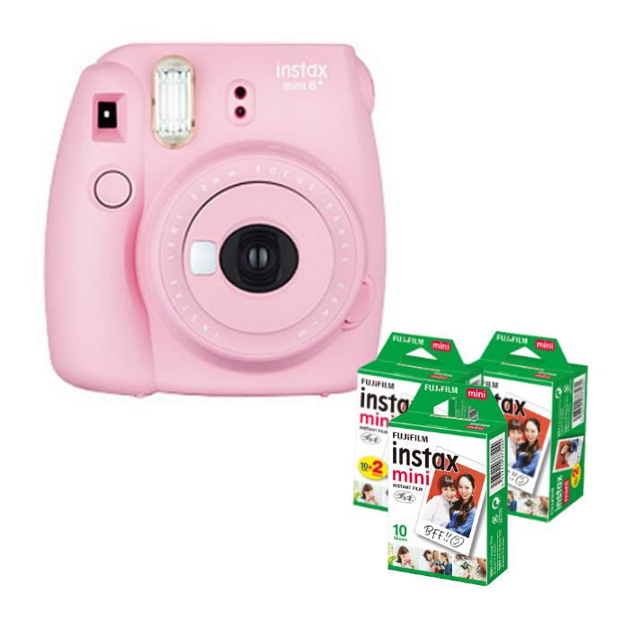 (フィルム50枚付) フジフイルム インスタントカメラ チェキ インスタックスミニ instax mini 8+ ストロベリー (FUJIFILM)(ラッピング不可)