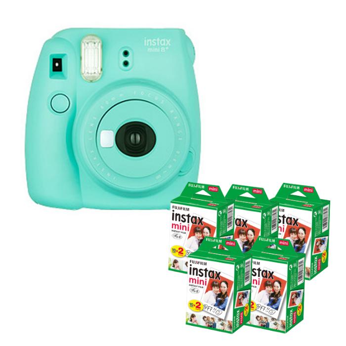 (フィルム100枚付) フジフイルム インスタントカメラ チェキ インスタックスミニ instax mini 8+ ミント (FUJIFILM)(ラッピング不可)