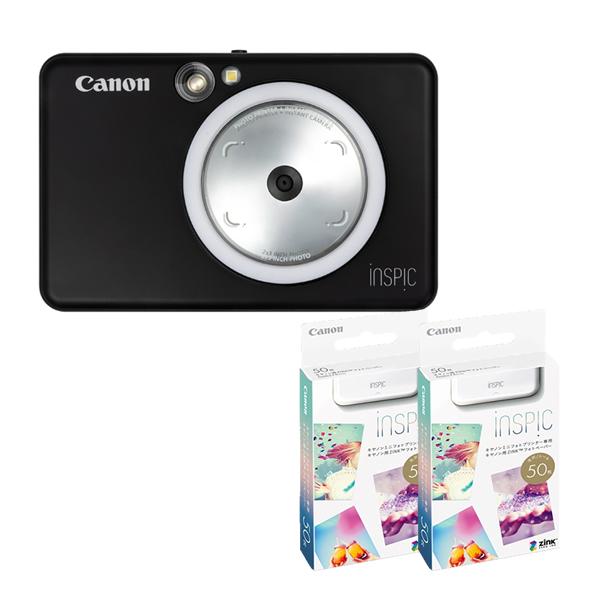(フォト用紙100枚付き)キヤノン インスタントカメラプリンター iNSPiC ZV-123-MBK マットブラック (3879C008)(キャノン/Canon/インスピック)