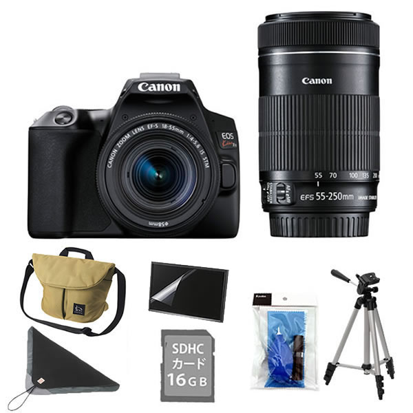 (7点セット!)キヤノン デジタル一眼レフカメラ EOS Kiss X10 ブラック ダブルズームキット (3923C003)(キャノン/Canon)