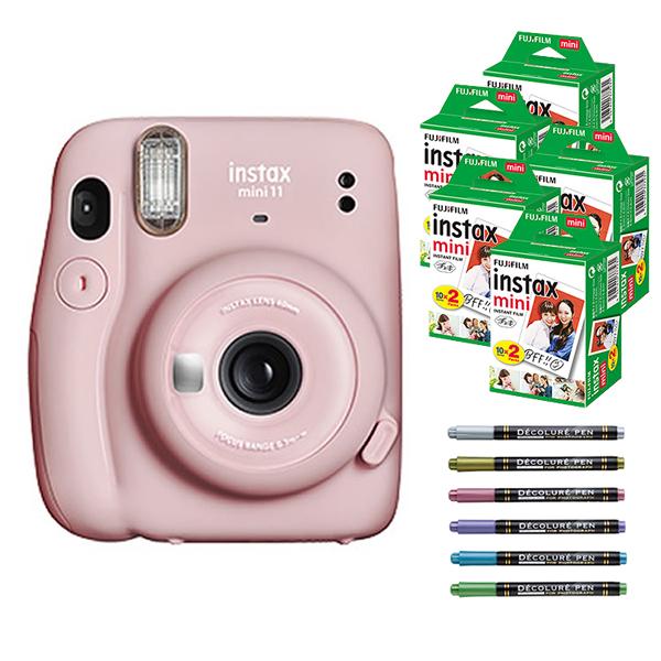 フィルム100枚 デコレールペン付 チェキ インスタントカメラ 富士フイルム instax mini ブラッシュピンク カメラ 即出荷 11 チェキカメラ FUJIFILM インスタックスミニ 新商品