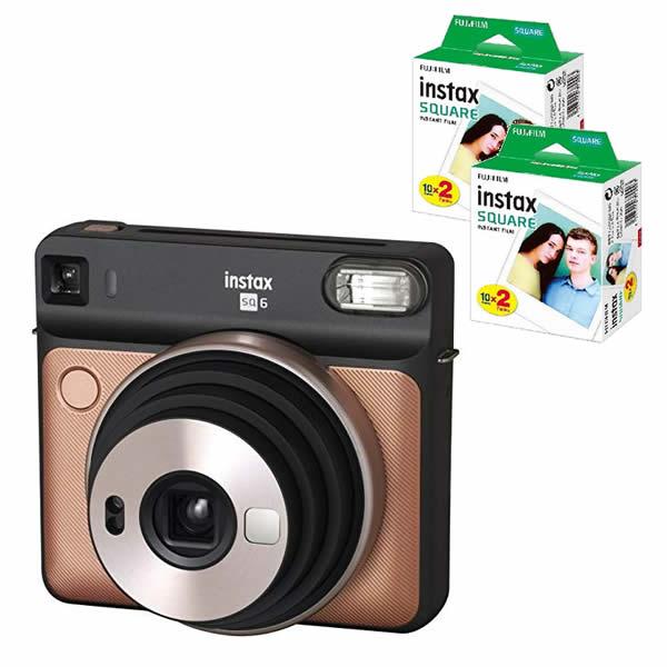 フィルム40枚付 フジフイルム インスタントカメラ チェキスクエア instax 送料0円 SQUARE 真四角チェキ ましかくチェキ FUJIFILM 当店は最高な サービスを提供します SQ6 SQ-6 ブラッシュゴールド