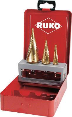 【代引不可】【メーカー直送】 RUKO社【穴あけ工具】 2枚刃スパイラルステップドリルセット 3本組 チタン 101026T (7659512)【ラッピング不可】