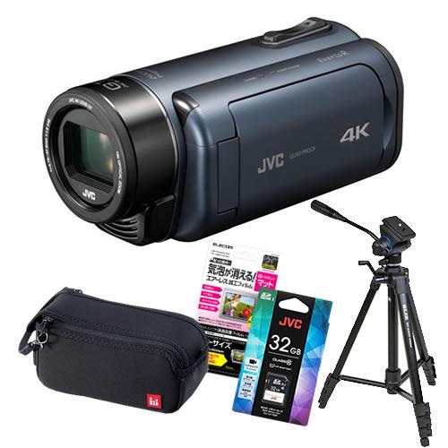 (5点セット)JVCケンウッド GZ-RY980-A ディープオーシャンブルー 4Kメモリームービー ビデオカメラ Everio R QUAD PROOF (GZRY980A)