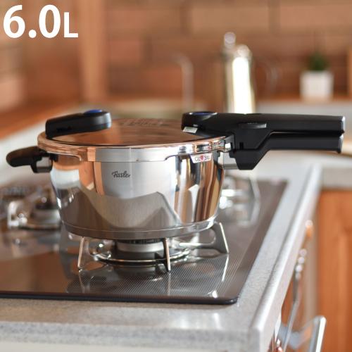 (フィスラー 圧力鍋 6.0Lセット)フィスラー ビタクイックプラス 6.0L 91-06-00-511 ガラスフタ&クリーナー付 IH・ガス火両用(ラッピング不可)