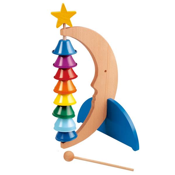 楽器 おもちゃ 知育玩具 木のおもちゃ リズムポコ クレッセントベル RP-860/CRB ナカノ 鉄琴