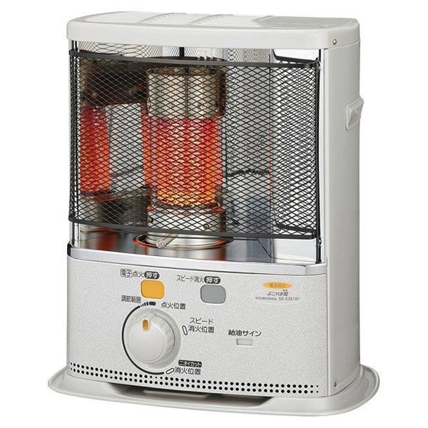 石油ストーブ コロナ 反射式 暖房器具 石油 SX-E2819Y(W) エレガンスホワイト (木造8畳/コンクリート10畳) CORONA 電源(100V)不要 停電 災害 防災 電池式 (ラッピング不可)