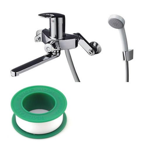 (セット)(浴室シャワー用水栓)TOTO TMGG30EZ 壁付き スパウト長さ170mm 寒冷地用 エアインシャワー +(シールテープ) カクダイ 5m 9630 (8072853) (ラッピング不可)