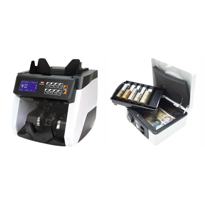 (セット)(紙幣計数機) ダイトDN-800V+ダイト 手提金庫DS-210 ホワイト