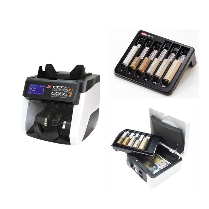 (セット)(紙幣計数機) ダイトDN-800V+手提金庫DS-210 ホワイト+コインカウンターCC-300