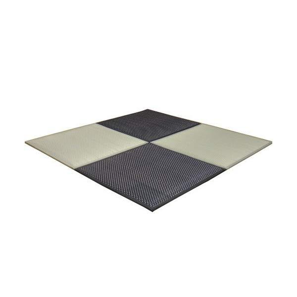 (メーカー直送)(代引不可) イケヒコ・コーポレーション 【ユニット畳】 8608360 い草 置き畳 低反発 『フレア』 約82×82×2.3cm 4枚組(ナチュラル2枚 ブラック2枚)×1セット (ラッピング不可)