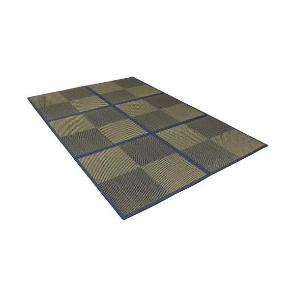 ユニット畳 6枚組 約82×82×1.7cm ニール ブルー い草 置き畳 和モダン (イケヒコ)(メーカー直送)(ラッピング不可)