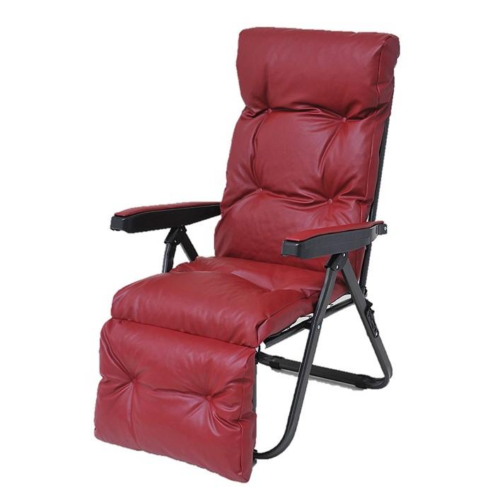 【代引き不可】【メーカー直送】【椅子】フットレスト付きリクライニングチェア(レッド)【ラッピング不可】