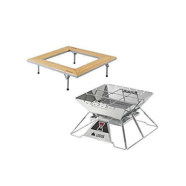 【焚火2点セット】LOGOS(ロゴス)LOGOS The ピラミッドTAKIBI XL&ウッド囲炉裏テーブルEVO (81064124+81064161) (ラッピング不可)