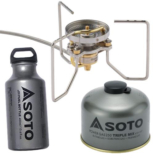SOTO(ソト)SOD-372 ストームブレイカー&広口フューエルボトル 400ml&パワーガス250 3点セット (ラッピング不可)