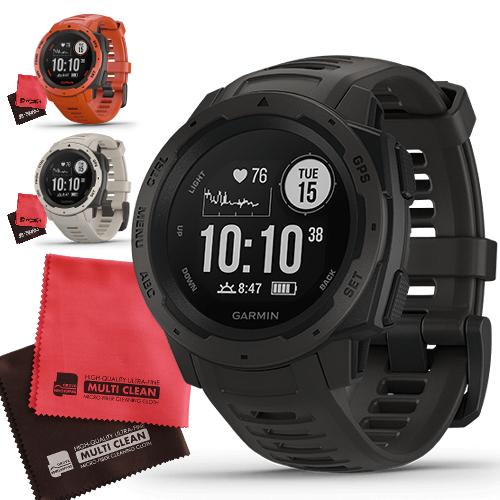 GARMIN ガーミン 010-02064 INSTINCT インスティンクト&マイクロファイバーセット(国内正規品)(GPSアウトドアウォッチ)(時計カラー選択式)