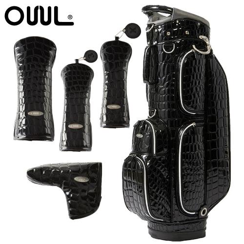 OUUL(オウル) Alligator 5WAY CART BAG(AL8ACT-0 BLACK)ヘッド&パターカバー 5点セット (カートバッグ/キャディバッグ)(ラッピング不可)