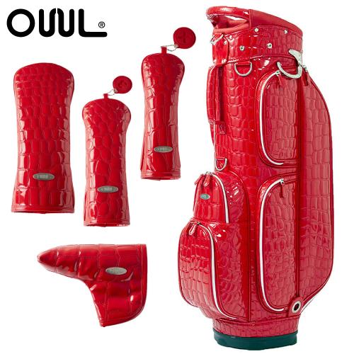 OUUL(オウル) Alligator 5WAY CART BAG(AL8ACT-2 RED)ヘッド&パターカバー 5点セット (カートバッグ/キャディバッグ)(ラッピング不可)