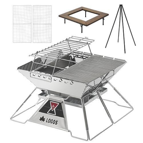 ロゴス 81064161 LOGOS The ピラミッドTAKIBI XL コンプリート&囲炉裏テーブル&クワトロポッド 7点セット(焚火台/ラック/火床仕切り板/焼網2種類/囲炉裏テーブル/クワトロポッド)(ラッピング不可)