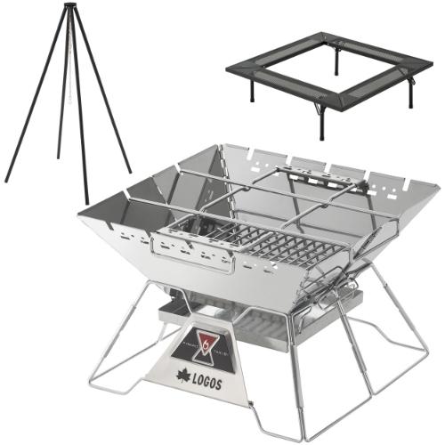 ロゴス LOGOS The ピラミッド TAKIBI L & アイアン囲炉裏テーブル & クワトロポッド3点セット(81064162+81064134+81064136)(R14BJ004)(ラッピング不可)