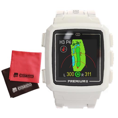 GREENON THE GOLF WATCH PREMIUM II グリーンオン ザ・ゴルフウォッチ プレミアム2(ホワイト)&マイクロファイバークロスセット(GPSゴルフウォッチ)