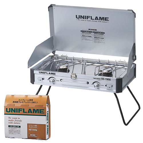 UNIFLAME ユニフレーム US-1900 ツインバーナー&プレミアムガス(3本) 2点セット(610305&650042)(ラッピング不可)