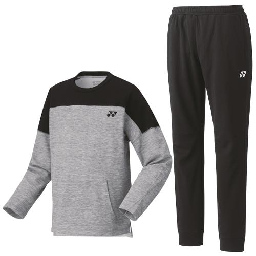 ヨネックス メンズスウェットシャツ(グレーモク)&パンツ(ブラック) 上下2点セット(30064Y&30065Y)YONEX(サイズ選択式)(メンズ/男性用)(ラッピング不可)