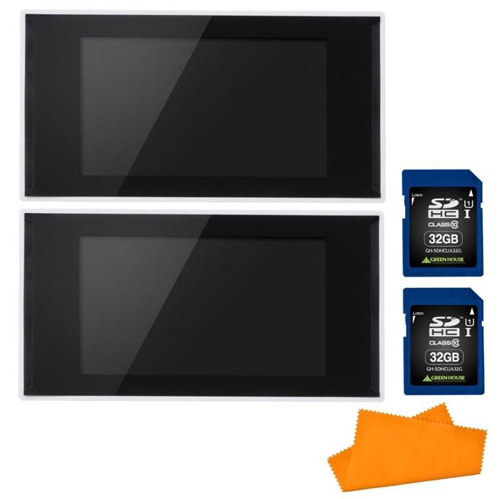 (セット) グリーンハウス(電子POP) GH-EP7E-WH 2台 & SDカード32GB(GH-SDHCUA32G) 2枚 & シリコンクロス (ラッピング不可)