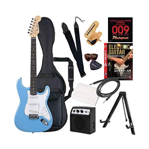 エレキギター セット 初心者 入門 子供 楽器 ギター ストラップ 初心者セット ST-180/UBL ライトブルー PhotoGenic フォトジェニック (12点セット)(ラッピング不可)