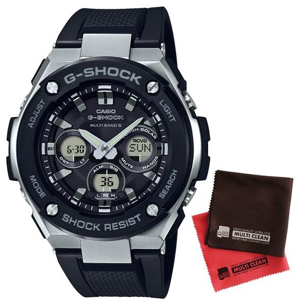 【国内正規品】【セット】[カシオ]CASIO 腕時計 GST-W300-1AJF [ジーショック]G-SHOCK メンズ G-STEEL [GSTW3001AJF]&マイクロファイバークロス 2枚セット【樹脂バンド 電波ソーラー】