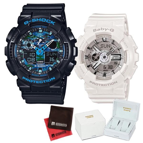 【セット】 [カシオ]CASIO 腕時計 GA-100CB-1AJF メンズ・BA-110-7A3JF レディース ・専用ペア箱(Gショック& ベビーG)・マイクロファイバークロス 2枚セット V-81776 GA100CB1AJF BA1107A3JF [クオーツ]