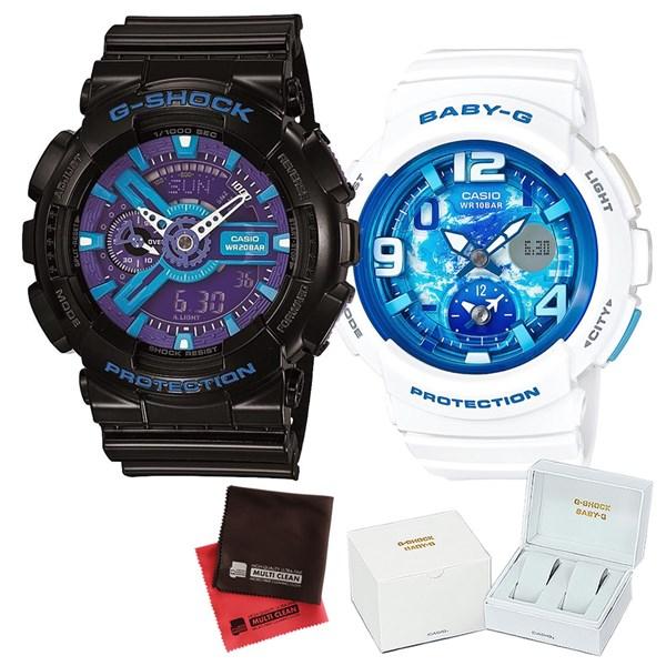 【セット】 [カシオ]CASIO 腕時計 GA-110HC-1AJF メンズ・BGA-190GL-7BJF レディース・専用ペア箱(Gショック& ベビーG)・マイクロファイバークロス 2枚セット V-81776 GA110HC1AJF BGA190GL7BJF [クオーツ]