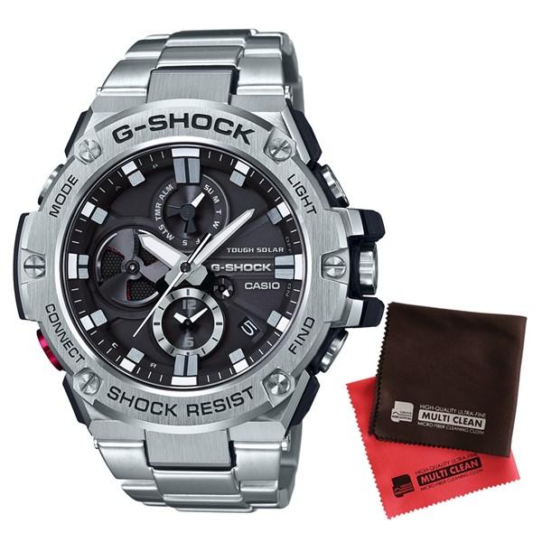 【セット】【国内正規品】[カシオ]CASIO 腕時計 GST-B100D-1AJF [ジーショック]G-SHOCK メンズ Bluetooth対応 G-STEEL クロノグラフ[GSTB100D1AJF]&クロス2枚セット【ステンレスバンド ソーラー 多針アナログ表示】