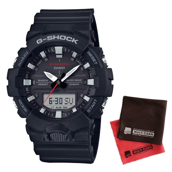 【セット】【国内正規品】[カシオ]CASIO 腕時計 GA-800-1AJF [ジーショック]G-SHOCK メンズ[GA8001AJF]&クロス2枚セット【樹脂バンド クオーツ アナデジ表示】