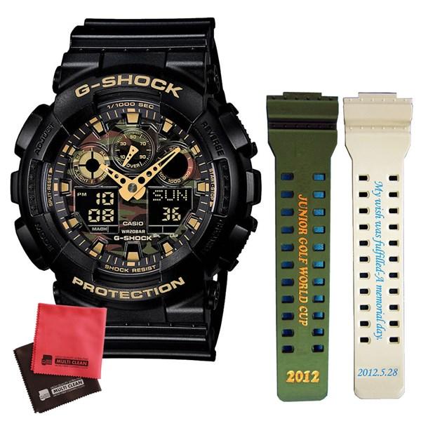 ☆バンドに名入れ・文字が刻印できます☆【名入れセット】[カシオ]CASIO 腕時計 GA-100CF-1A9JF [ジーショック]G-SHOCK メンズ&マイクロファイバークロス 2枚セット※画像の刻印バンドは一例です。