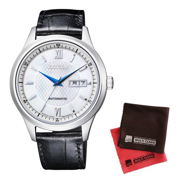 【セット】【国内正規品】[シチズン]CITIZEN 腕時計 NY4050-03A Cコレクションメカニカル メンズ 自動巻き ペアモデル&クロス2枚セット【牛革(カーフ)バンド 自動巻き アナログ表示】