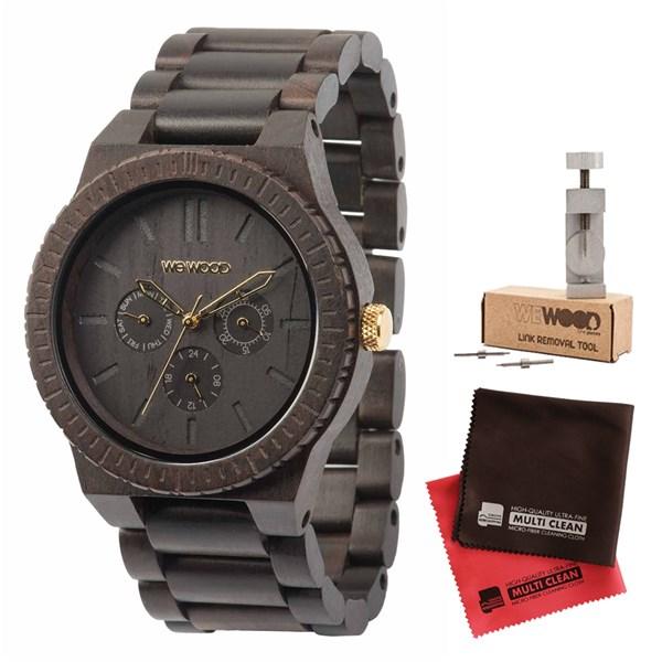 【セット】【正規輸入品】[ウィーウッド]WEWOOD 腕時計 9818031 木製 KAPPA BLACK/GOLD&バンド調整キット&マイクロファイバークロス2枚【木製バンド クオーツ 多針アナログ表示】