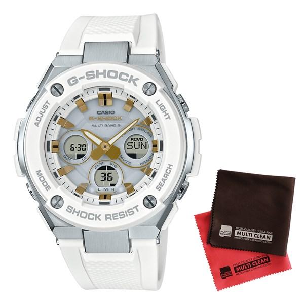 【セット】【国内正規品】[カシオ]CASIO 腕時計 GST-W300-7AJF [ジーショック]G-SHOCK メンズ G-STEEL 電波ソーラー&クロス2枚セット【樹脂バンド アナデジ表示】