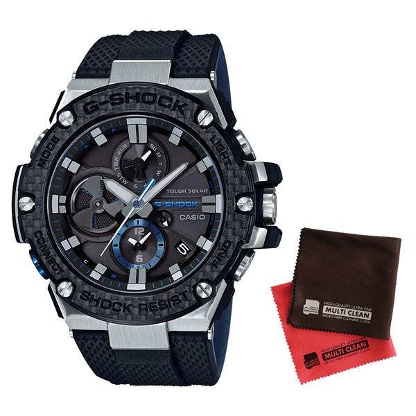 (セット)(国内正規品)(カシオ)CASIO 腕時計 GST-B100XA-1AJF (ジーショック)G-SHOCK メンズ G-STEEL&クロス2枚セット【樹脂バンド タフソーラー 多針アナログ表示】