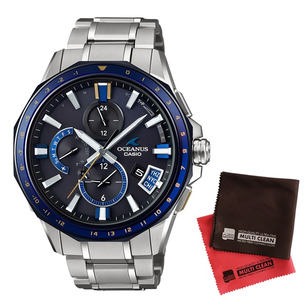 【セット】【国内正規品】[カシオ]CASIO 腕時計 OCW-G2000G-1AJF [オシアナス]OCEANUS メンズ Bluetooth搭載 GPS電波ソーラー&クロス2枚セット【チタンバンド 多針アナログ表示】