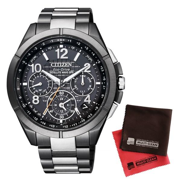 【セット】【国内正規品】[シチズン]CITIZEN 腕時計 CC9075-52E [アテッサ]ATTESA メンズ エコ・ドライブGPS衛星電波時計 Black Titanium Series&クロス2枚セット